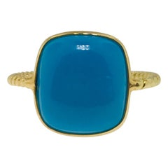 Genuine Persian Turquoise Gemstone Tresor Ring in 18 Karat Yellow Gold in Stock