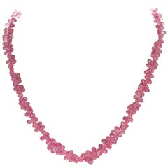 Genuine Pink Sapphire Drop Briolette Necklace
