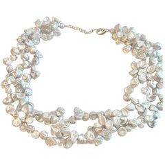 Genuine Rare Keshi Pearl Three Strands Necklace