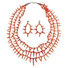 Genuine Red Coral Three Strand Necklace and Earrings
