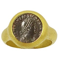Genuine Roman Bronze Coin '4th Century AD 18Kr Ring Depicting Emperor Honorius