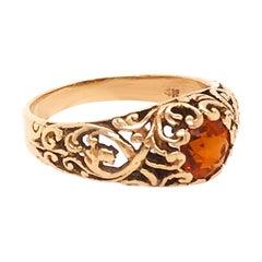 Genuine Round Garnet Estate Ring with Filigree Design in 14 Karat Yellow Gold