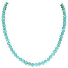 Genuine Round Turquoise Beads, 14 Karat Yellow
