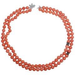 Genuine Salmon Coral Bead and Diamond Knotted String Double-Strand Gold Necklace