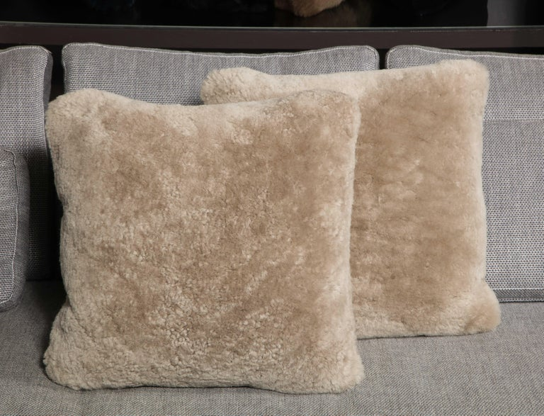 Minimalist Genuine Shearling Pillow in Taupe Color For Sale