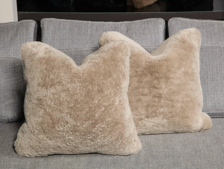 American Genuine Shearling Pillow in Taupe Color For Sale