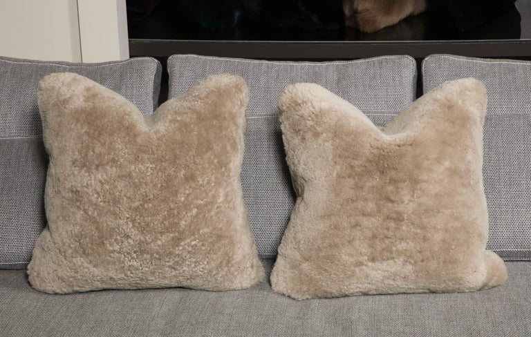 Genuine Shearling Pillow in Taupe Color In New Condition For Sale In New York, NY