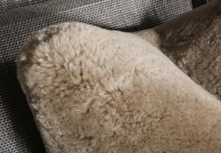 Contemporary Genuine Shearling Pillow in Taupe Color For Sale