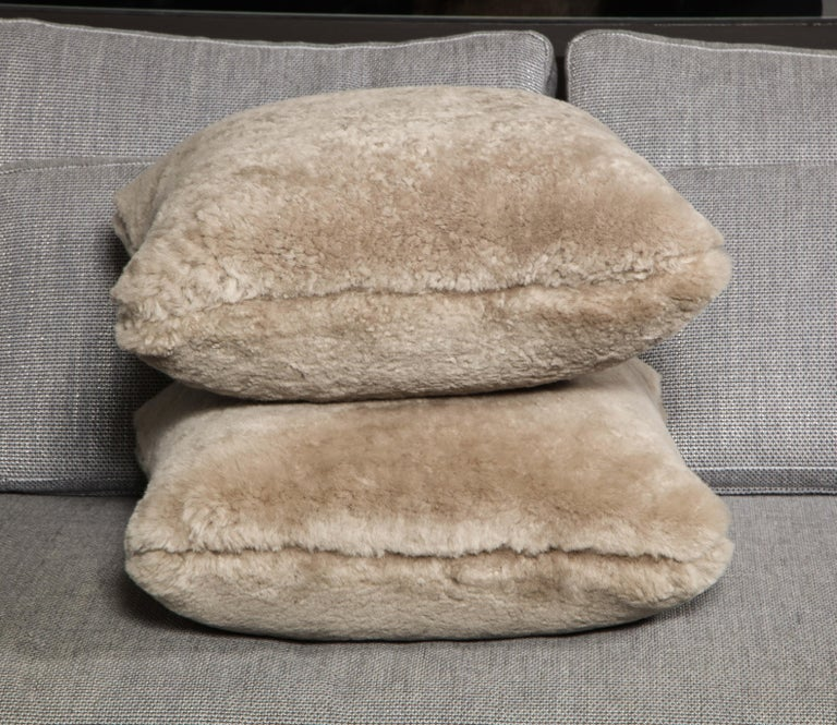 Genuine Shearling Pillow in Taupe Color For Sale 1