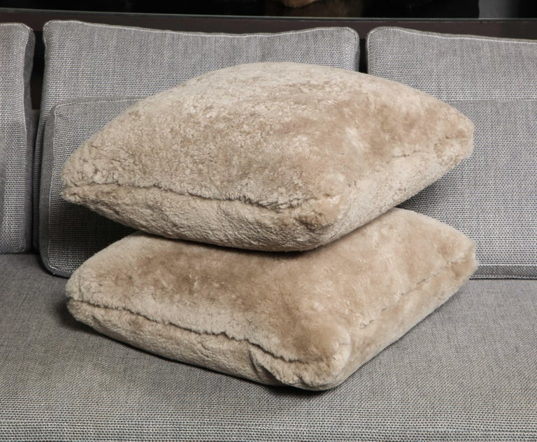 Genuine Shearling Pillow in Taupe Color For Sale 2