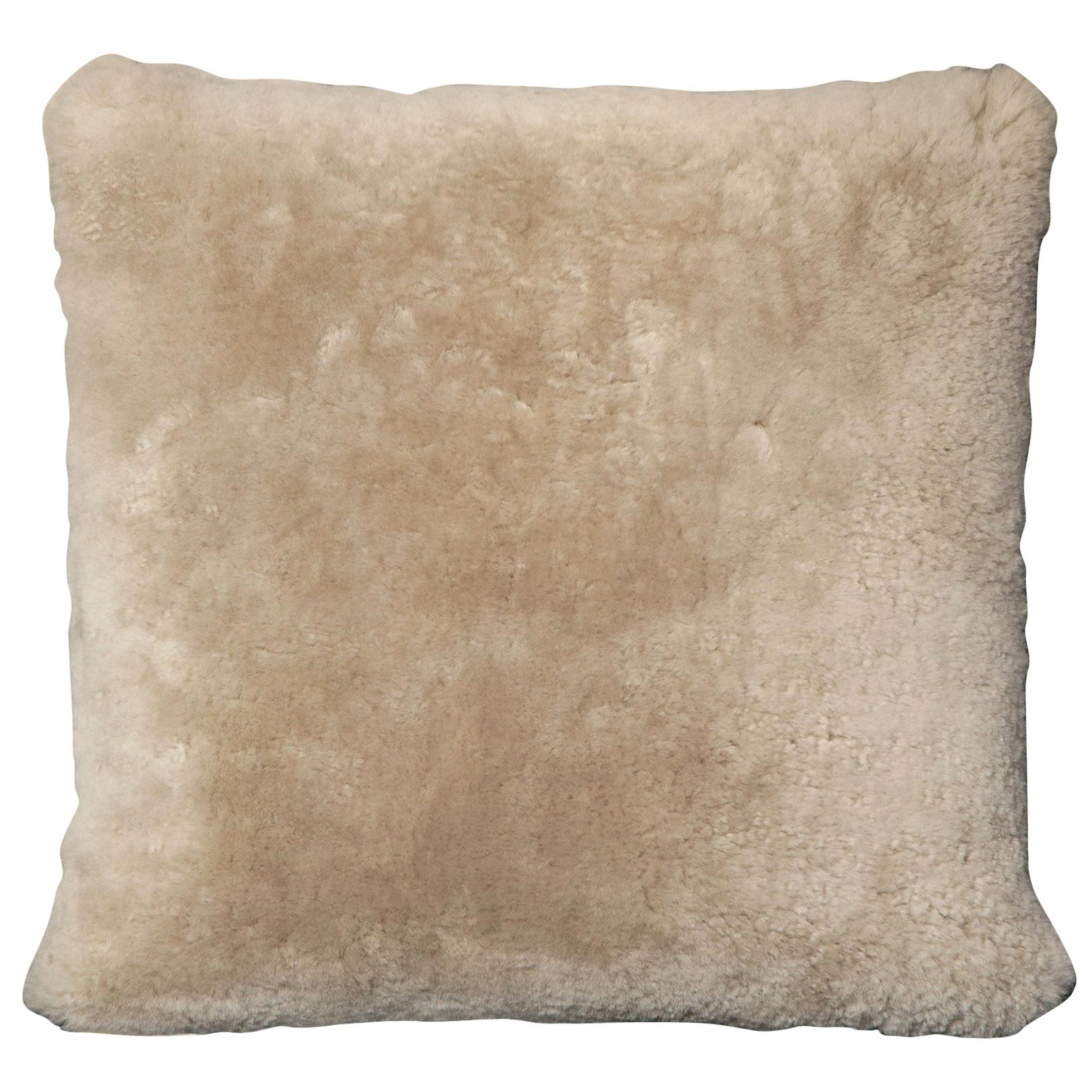 Custom Genuine Shearling Pillow in Taupe Color
