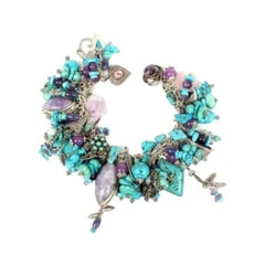 Genuine Turquoise and Amethyst Sterling Silver Vintage Multi Charm Bracelet