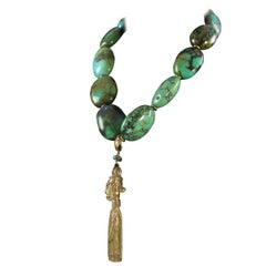 Turquoise and Bronze Statement Necklace Estate Fine Jewelry