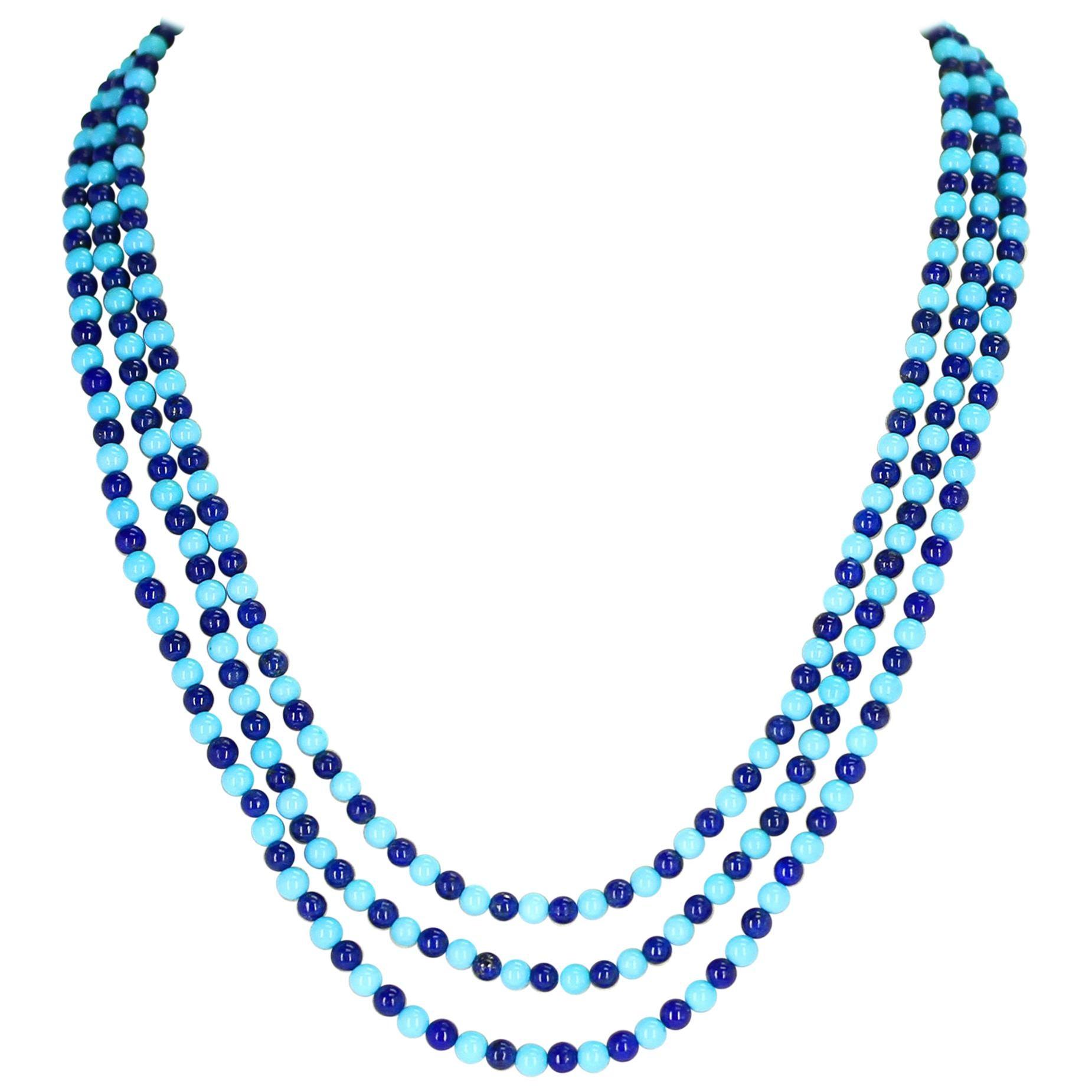 Genuine Turquoise and Lapis Lazuli Beads Necklace, 14 Karat Yellow Gold