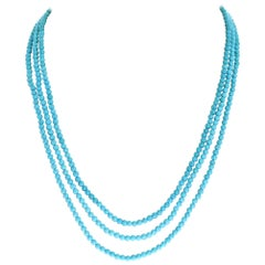Genuine Turquoise Three Strand Necklace, 14 Karat Yellow Gold