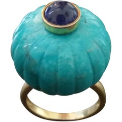 Genuine Turquoise Turban Ring Blue Sapphire Cabochon 14 Karat Solid Yellow Gold
