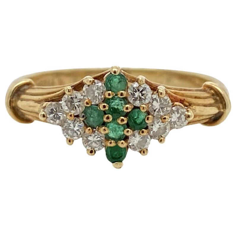 Genuine Van Cleef & Arpels Vintage Solid 14K Yellow Gold Emerald & Diamond Ring