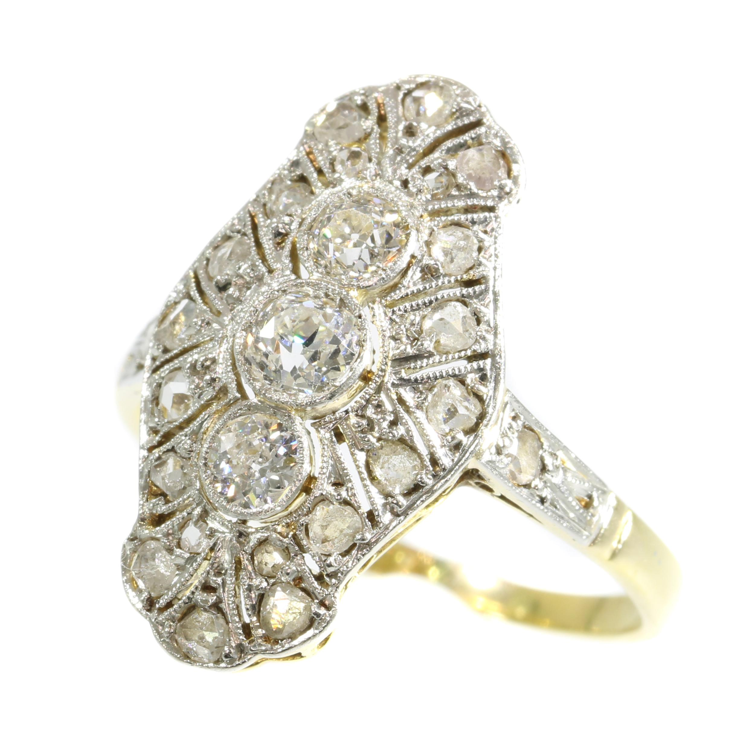 1e64e8ac07f94 Genuine Vintage Art Deco Three-Stone Diamond Engagement Ring For Sale at  1stdibs