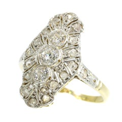 Genuine Vintage Art Deco Three-Stone Diamond Engagement Ring