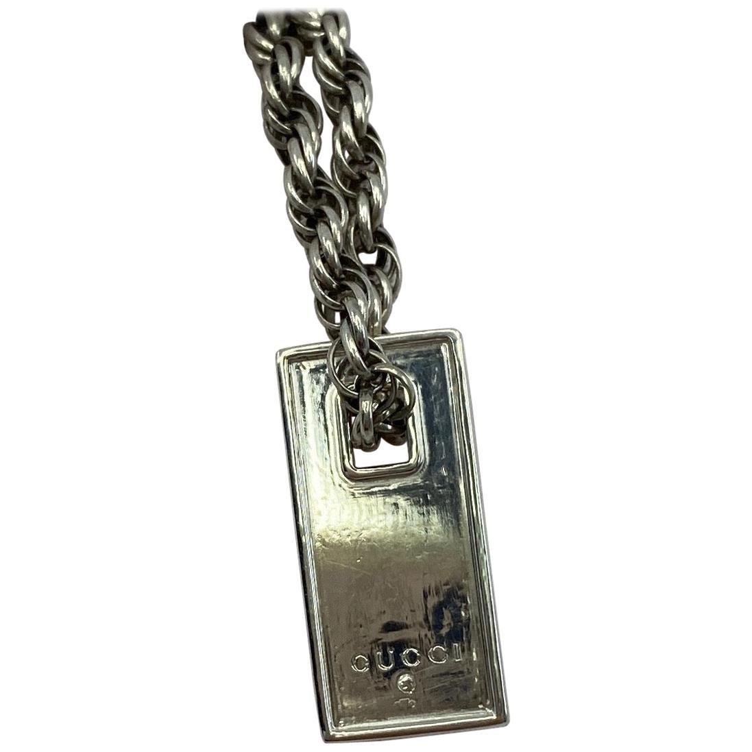 Genuine Vintage Gucci Tag Sterling Silver Dogtag Charm Bracelet