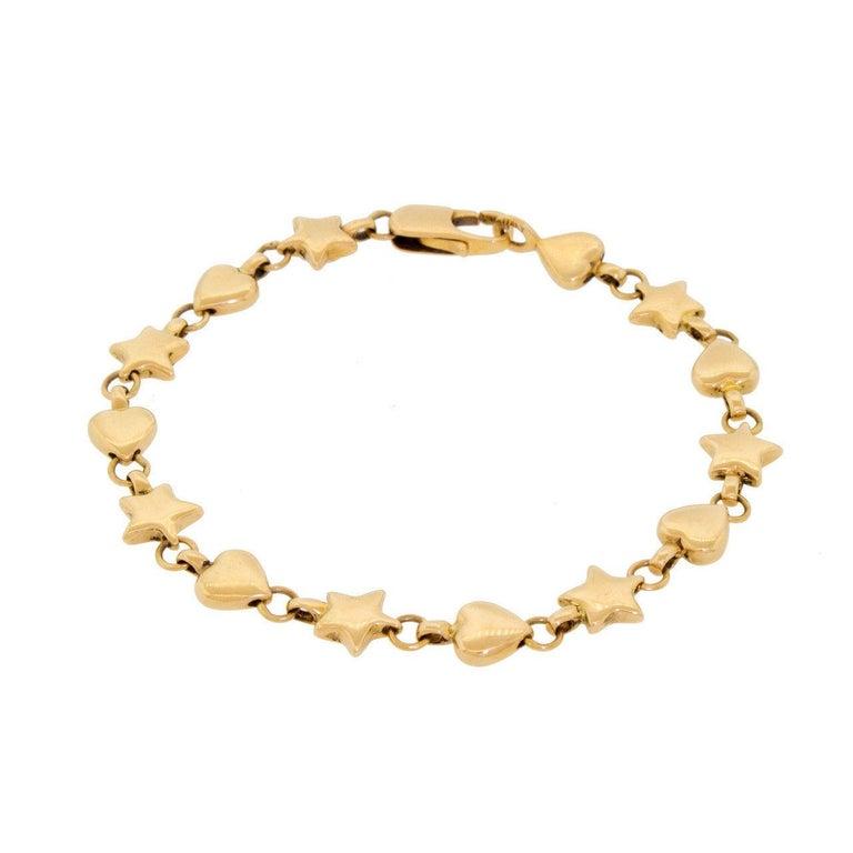 74dd43e1691b7 Genuine Vintage Tiffany & Co. 18 Karat 750 Yellow Gold Hearts Stars Bracelet  In Good