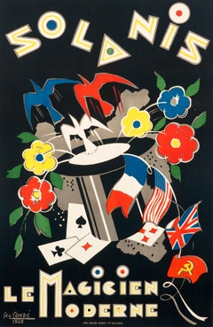 """Solanis, le Magicien Moderne"" Postwar French Magic Original Vintage Poster"