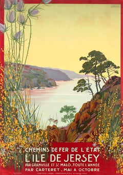Original Antique Railway Travel Poster Jersey Island By Chemins De Fer De l'Etat