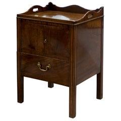 Geo III Mahogany Tray Top Bedside Cupboard, circa 1780