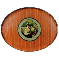 Geo III Painted Tole with Antique Sheffield Gallery with Kaufman Style Portrait