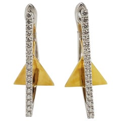 Diamond Kavant & Sharart GeoArt Earrings Set in 18K Gold/White Gold