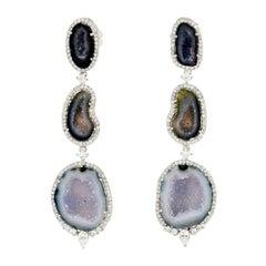 Geode 18 Karat Gold Diamond Earrings