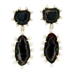 Geode 18 Karat Gold Pearl Diamond Earrings