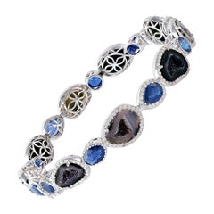 Geode Blue Sapphire Diamond 18 Karat Gold Bangle Bracelet