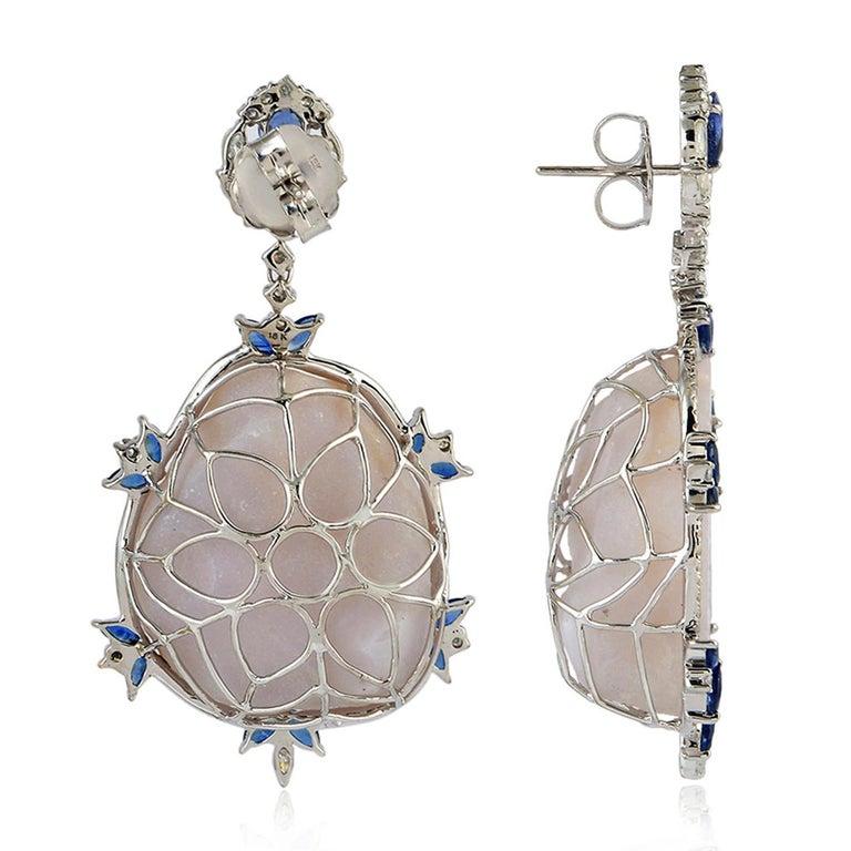 Modern Blue Sapphire Diamond 18 Karat Gold Geode Earrings For Sale