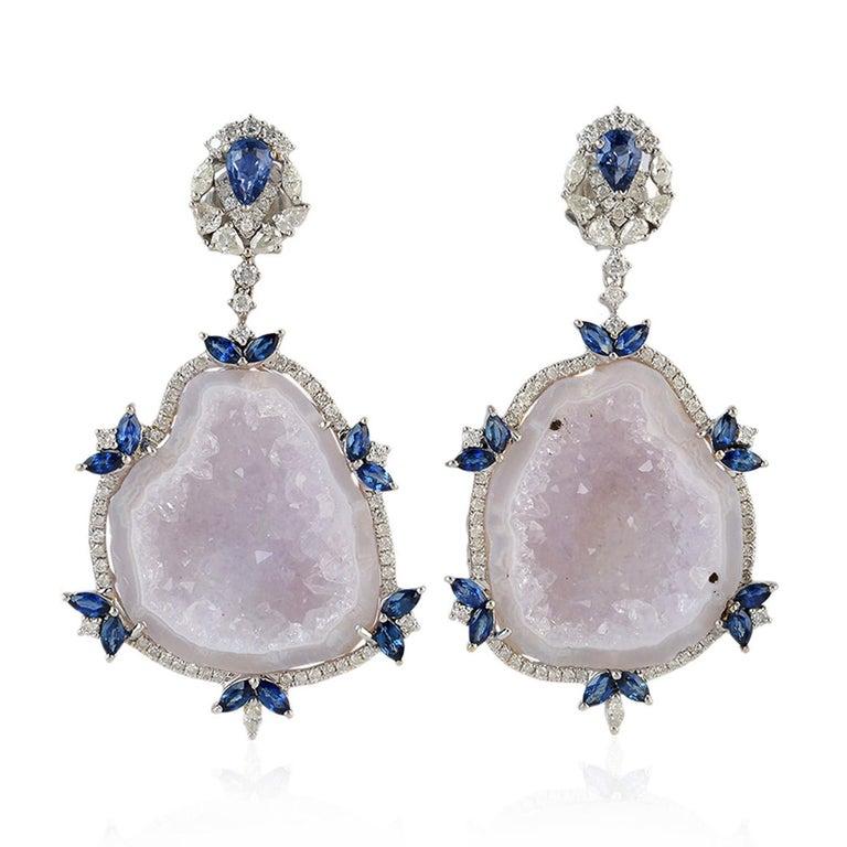 Mixed Cut Blue Sapphire Diamond 18 Karat Gold Geode Earrings For Sale