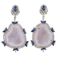 Blue Sapphire Diamond 18 Karat Gold Geode Earrings