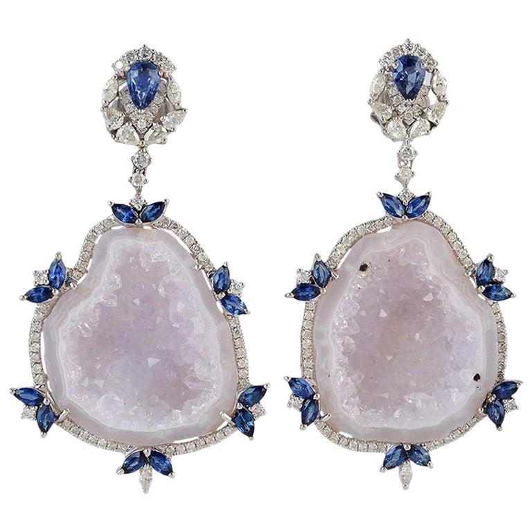 Blue Sapphire Diamond 18 Karat Gold Geode Earrings For Sale