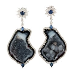 Geode Blue Sapphire Diamond 18 Karat Gold Earrings