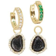 Geode Charms and Intricate 18 Karat Gold Reversible Huggies Earrings