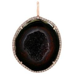 Geode Diamond 18 Karat Gold Pendant Necklace