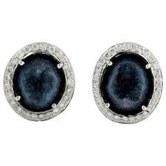 Geode Diamond 18 Karat White Gold Stud Earrings