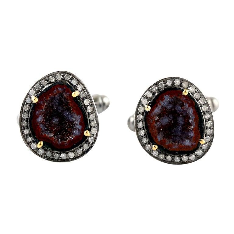 Modern Geode Diamond Cufflinks For Sale