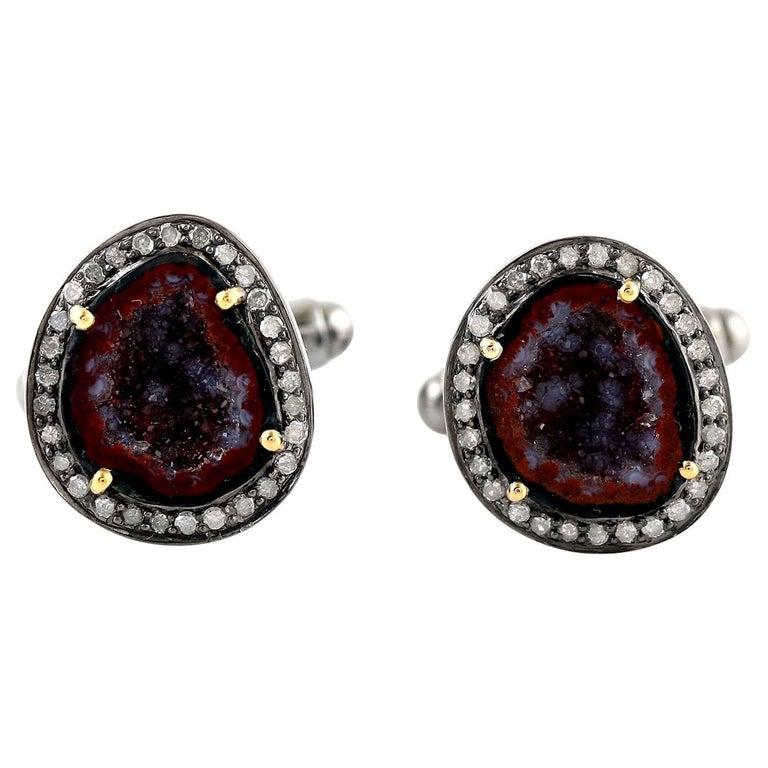 Geode Diamond Cufflinks For Sale