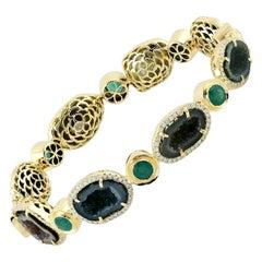 Geode Emerald Diamond 18 Karat Gold Bangle Bracelet