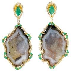 Geode Emerald Diamond 18 Karat Gold Earrings