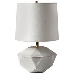 'Geode' Geometric White Ceramic and Brass Small Table Lamp with Linen Shade #2S