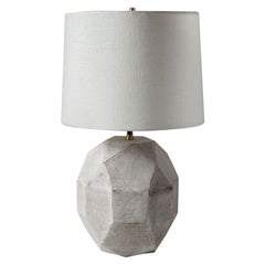 'Geode' Geometric White Ceramic and Brass Small Table Lamp with Linen Shade #3S