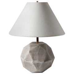 'Geode' Geometric White Ceramic and Brass Small Table Lamp with Linen Shade #4S
