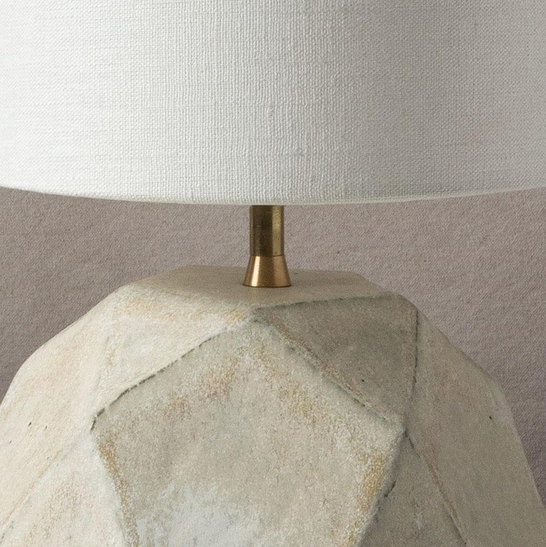 American 'Geode' Geometric White Ceramic and Brass Table Lamp with Linen Shade #4L For Sale