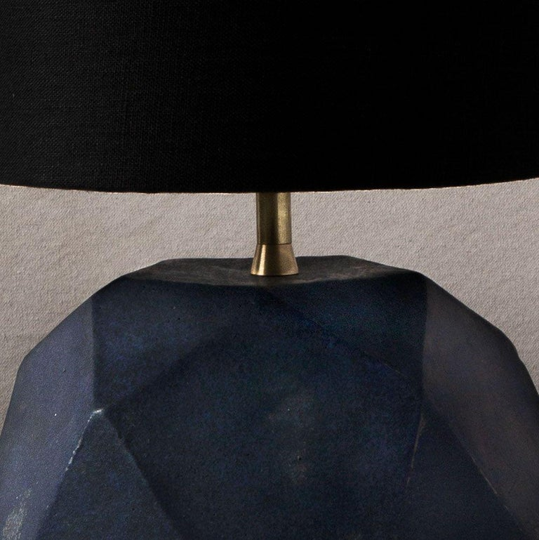 Contemporary 'Geode' Geometric White Ceramic and Brass Table Lamp with Linen Shade #4L For Sale